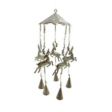 Silver Metal Galloping Reindeer Wind Chime