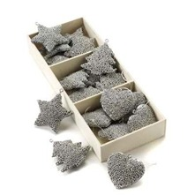 Set of Fifteen Gunmetal Christmas Decorations