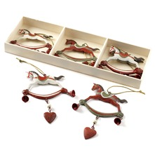 Set of Six White/Red Rocking Horse Decorations