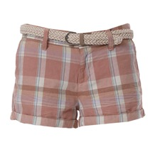 Short à carreaux rose et beige