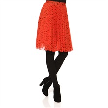 Red/Black Pleated Skirt