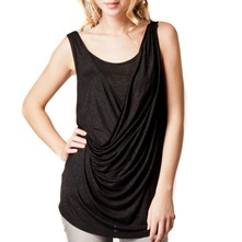 Black Half Draped Top
