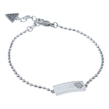 Silver Rectangle Tag Charm Bracelet