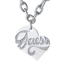 Silver Revesible Heart Charm Necklace