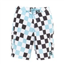 Boardshort Tahara  carreaux turquoise et blanc