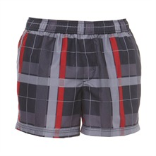 Short de bain Tavaco  carreaux gris et rouge