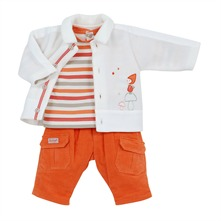 Ensemble pantalon, t-shirt et chemise blanc et orange