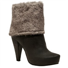 Brown Faux Fur Ankle Boots 10.5cm Heel