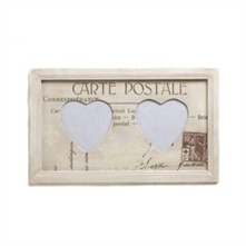 Cream Wood Two Heart Frame