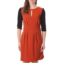 Rust/Black Contrast Sleeve Dress