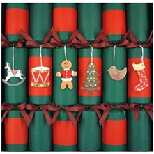 Set of Six Red/Green Kraft Crackers