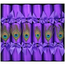 Set of Six Purple Peacock Feather Crackers