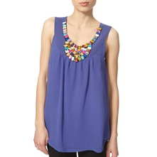 Blue Beaded Neckline Top