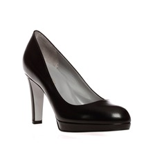 Black Leather Platform Court Shoes 9cm Heel