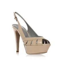 Beige Leather Cut-out Sandals 9cm Heel