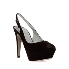 Black Suede Peep Toe Shoes 11.5cm Heel