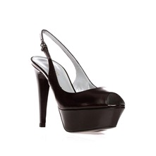 Black Leather Peep Toe Shoes 11.5cm Heel