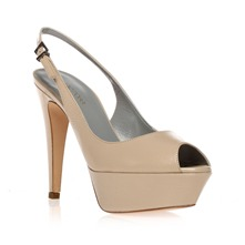 Beige Leather Peep Toe Shoes 11.5cm Heel