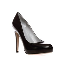 Black Leather Court Shoes 11cm Heel