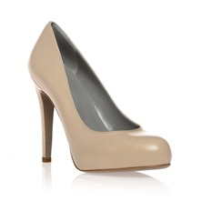 Beige Leather Court Shoes 11cm Heel
