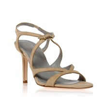 Natural Suede Strappy Sandals 8.5cm Heel