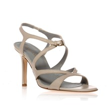 Beige Leather Strappy Sandals 8.5cm Heel
