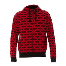 Sweat zippé à capuche Screenline rouge et noir