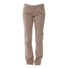Beige Slim Cut Cotton Trousers