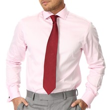 Pink Double Cuff Twill Cotton Shirt