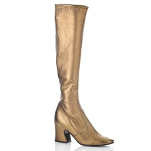 Gold Leather Over The Knee Boots 8cm Heel