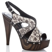 Two Tone Snake Print Gordes Sandals 14cm Heel