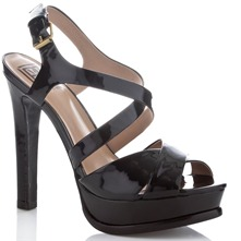 Black Hiro Patent Leather Sandals 13.5cm Heel