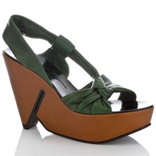 Green Leather Wedge Sandals 10cm Heel