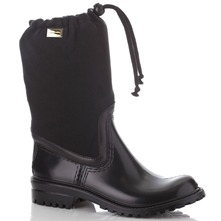 Black Fabric Pull Wellington Boots