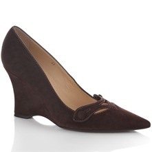 Brown Suede Wedge Court Shoes 9cm Heel