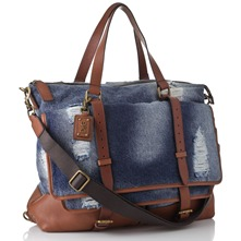 Blue Denim Large Distressed Bag