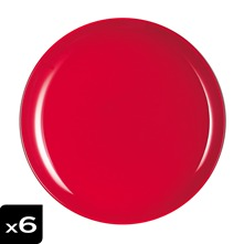 Lot de 6 assiettes plates rouges Arty