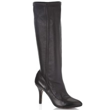 Black Leather Long Boots 9cm Heel