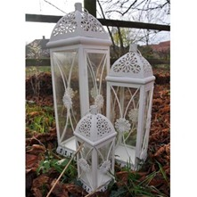 Set of Three Cream Antique Lanterns 61cm