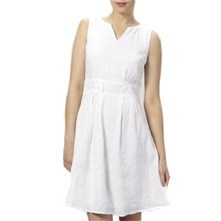 White Linen Sleeveless Dress