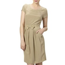 Beige Bow Front Shift Dress