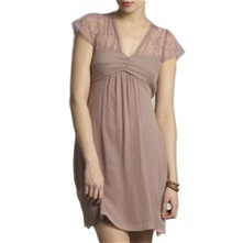 Light Pink Lace Panel Silk Dress