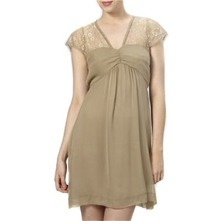 Beige Lace Panel Silk Dress