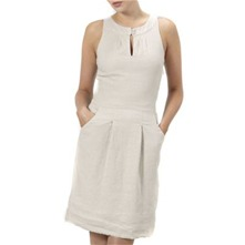 Beige Linen Shift Dress