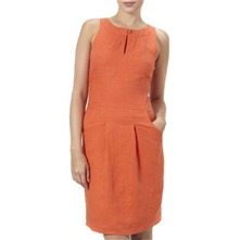 Orange Linen Shift Dress