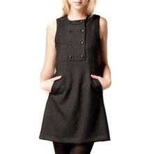 Black Double Breasted Shift Dress