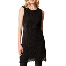 Black Floral Lace Shift Dress