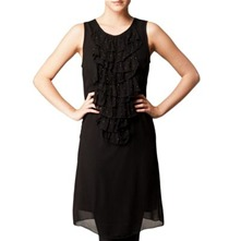 Black Frill Trim Shift Dress