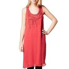Coral Pleat Applique Shift Dress