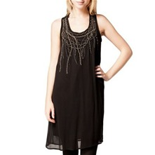 Black Pleat Applique Shift Dress
